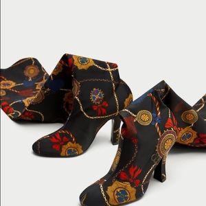 Zara over the knee high heel printed fabric boot